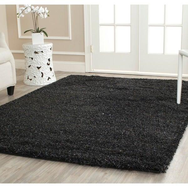 Safavieh California Cozy Solid Black Shag Rug (8' x 10')