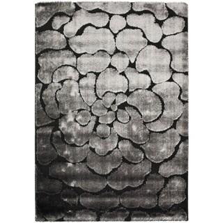 Safavieh Hand-woven Silken Embossed Black/ Grey Shag Rug (5'3 x 7'6)