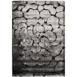 Hand-woven Silken Embossed Black/ Grey Shag Rug (8' x 10')