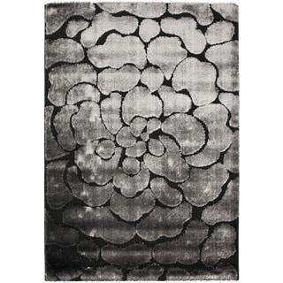 Safavieh Hand-woven Silken Embossed Black/ Grey Shag Rug (8' x 10')