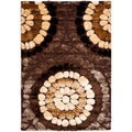 Contemporary Handwoven Silken Embossed Brown Shag Rug (4' x 6')