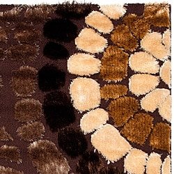Handwoven Silken Embossed Brown Rectangular Shag Rug (5'3