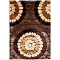 "Handwoven Silken Embossed Brown Rectangular Shag Rug (5'3"" x 7'6"")"