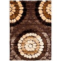 Handwoven Silken Embossed Brown Geometric Shag Rug (8' x 10')