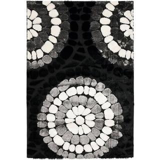 Hand-woven Silken Embossed Black Shag Rug (8' x 10')