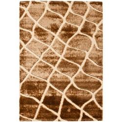 "Safavieh Handwoven Silken Embossed Cream Shag Area Rug (5'3"" x 7'6"")"