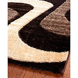 Hand-woven Silken Embossed Brown Shag Rug (8' x 10')
