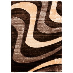 Hand-woven Silken Embossed Brown Shag Rug (8' x 10')