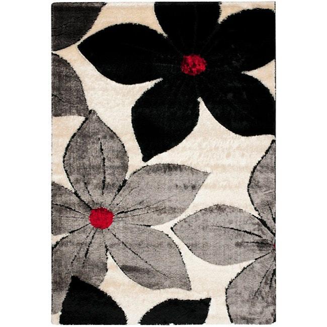 Safavieh Plush-Pile Handwoven Silken Embossed Cream Shag Rug (4' x 6')