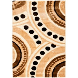 "Handwoven Silken-Embossed Beige Polypropylene Shag Rug (5'3"" x 7'6"")"