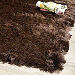Silken Chocolate Brown Shag Rug (2' x 3')