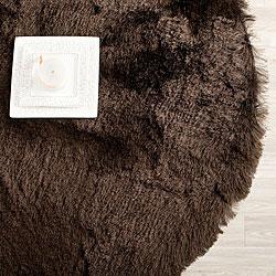 Silken Chocolate Brown Shag Rug (5' Round)