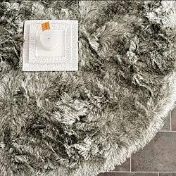 Silken Silver Shag Rug (5' Round)