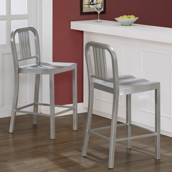 Silver Metal Counter Stools Set Of 2