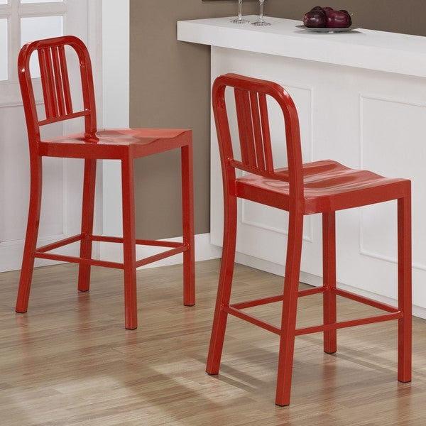 Red Metal Counter Stools Set Of 2