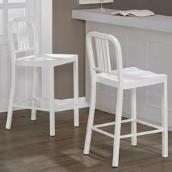White Metal Counter Stools (Set of 2)