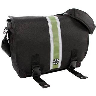 DadGear Center Stripe Green Messenger Diaper Bag