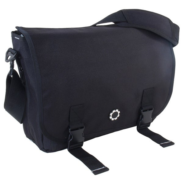 DadGear Messenger Diaper Bag in Basic Black
