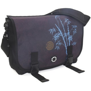 DadGear Messenger Diaper Bag in Blue Bamboo
