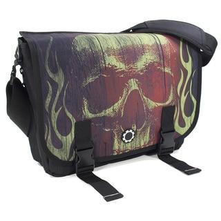 DadGear Messenger Diaper Bag in Lime Skull