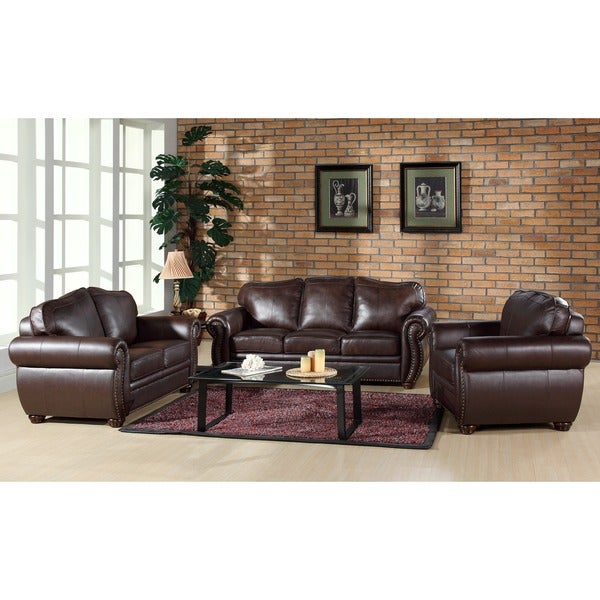 ABBYSON LIVING Richfield Premium Top-grain Leather Sofa, Loveseat, and Armchair Set