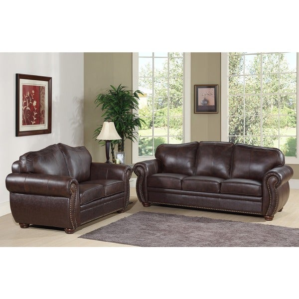 Abbyson Living Richfield Premium Top Grain Leather Sofa And Loveseat 13651288