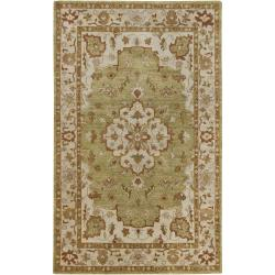 Hand-knotted Mandara Green New Zealand Wool Rug (5' x 8')