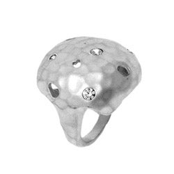 Silvertone Hammered Finish Clear Cubic Zirconia Ring