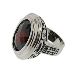 Silvertone Red Cubic Zirconia Filigree Ring