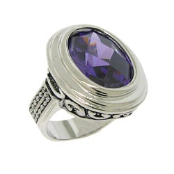 Silvertone Purple Cubic Zirconia Filigree Ring