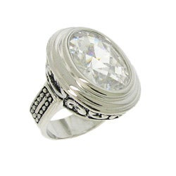 Silvertone White Cubic Zirconia Filigree Ring