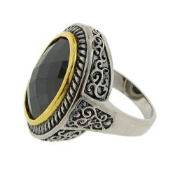 Two-Tone Brown Cubic Zirconia Filigree Ring