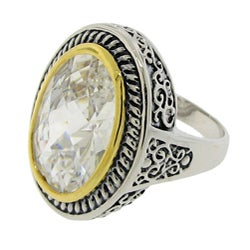 Two-Tone White Cubic Zirconia Filigree Ring
