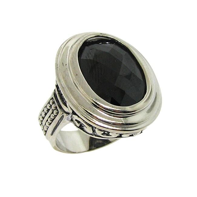 Silvertone Black Cubic Zirconia Filigree Ring