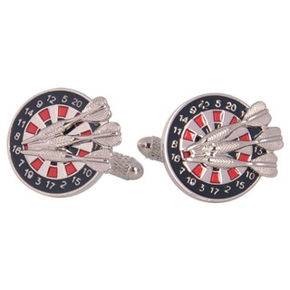 Cuff Daddy Silvertone Dartboard Cuff Links