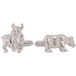 High-polish Stainless Steel Bullet-back Bull and Bear Cuff Links