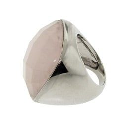 Silvertone Square-cut Rose Quartz Ring