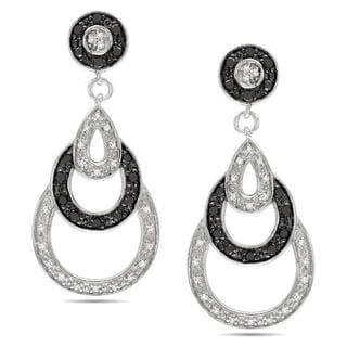 M by Miadora Sterling Silver 2/5ct TDW Black and White Diamond Earrings (G-H, I3)
