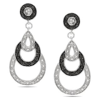 Haylee Jewels Sterling Silver 2/5ct TDW Black and White Diamond Earrings (G-H, I3)