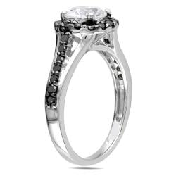 Miadora Sterling Silver 2/5ct Black Diamond and Round-cut White Sapphire Ring