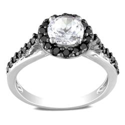 Miadora Sterling Silver 2/5ct Black Diamond and White Sapphire Ring