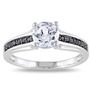 Miadora Sterling Silver 1/6ct TDW Black Diamond and White Sapphire Ring with Bonus Earrings