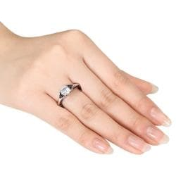 Miadora Sterling Silver 3/8ct Black Diamond and White Sapphire Ring