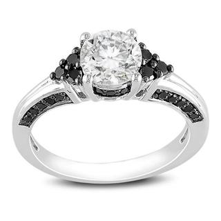 Miadora Sterling Silver 3/8ct Black Diamond and White Sapphire Ring with Bonus Earrings