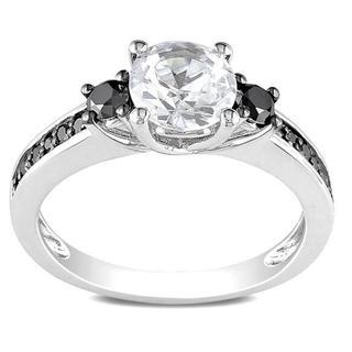 Miadora Sterling Silver 1/3ct TDW Black Diamond and White Sapphire Ring with Bonus Earrings