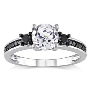 Miadora Sterling Silver 1/3ct TDW Black Diamond and White Sapphire Ring