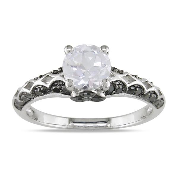 Miadora Sterling Silver 2/5ct TDW Black Diamond and White Sapphire Ring