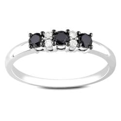 10k White Gold 1/3ct TDW Black and White Diamond Ring (G-H, I2-I3)