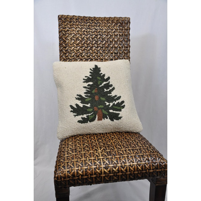 Cottage Home Hooked Tree Decorative Pillow