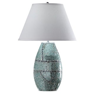 Green Mint Glass 1-light Mosaic Table Lamp